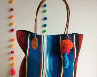 Lidia azul mexican blanket bag
