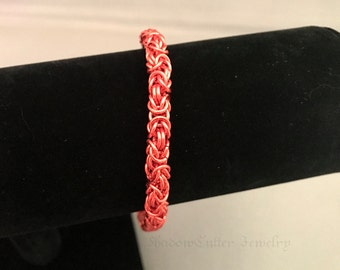 Orange Byzantine Chainmaille bracelet anklet chainmail tangerine bright orange ankle bracelet lobster clasp ShadowCutter Jewelry