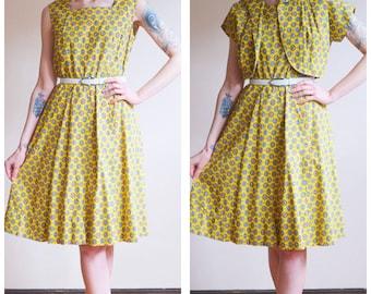 1950s Dress // Sun Kissed Dress & Bolero // vintage 50s dress set