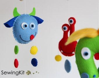 baby mobile monster, DIY sewing kit, diy crib mobile, diy wool felt mobile, monsters, red, blue, yellow, green