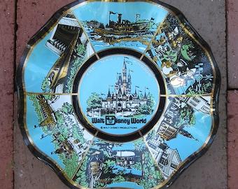 Vintage Walt Disney World Souvenier Ashtray - The Magic Kingdom - aqua  gold - Disneyana - disney collectible - scalloped dish - souvenir