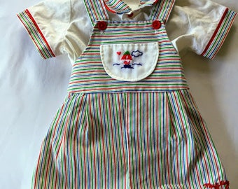 Vintage Multicolor Overalls and Shirt
