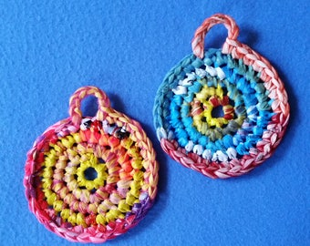 Two Multicolored Plarn Dish Scrubbies, recycled plastic bags, eco-friendly dish scrubby pot scrubber