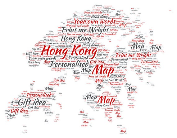 Personalised word art map of hong kong design great gift for gumiabroncs Images