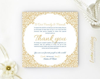 Reception thank you cards PRINTED | Seating thank you note cards for wedding reception | Vintage gold thank you tag | Cheap thank you notes