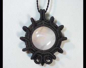 Rose Quartz macrame necklace wt Amethyste beads, Love gemstone