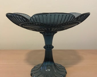 Pretty Smokey Blue Glass Pedestal Dish
