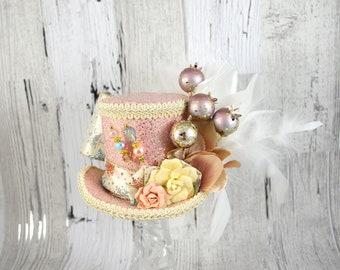 Pastel Pink, Blue, Cream, and Gold Flower Medium Mini Top Hat Fascinator, Alice in Wonderland, Mad Hatter Tea Party, Derby Hat