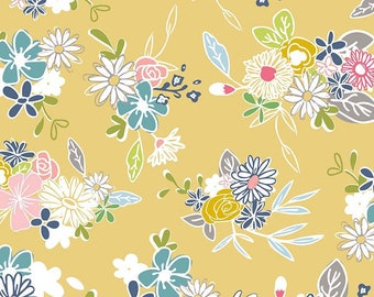 DAISY Main Yellow c6280, DAISY DAYS, Riley Blake Designs, Yellow Floral, Shabby Chic Nursery, Baby Girl Quilt, Quilting, Fabric By the Yard