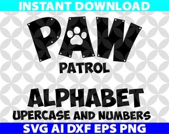 Paw Patrol Alphabet SVG Letters Ai Png Eps Dxf Cut Cutting Birthday Invitation Logo Team Movie Digital Download Cricut