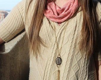 Monogrammed Necklace Tassel, Engraved Tassel Necklace, Gold or Silver