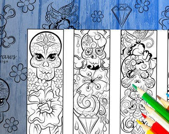 Skull designs- bookmarks-Digital download to print and color