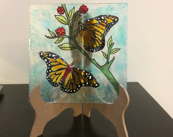 Monarch Butterfly Painted Stained Glass, painting on glass