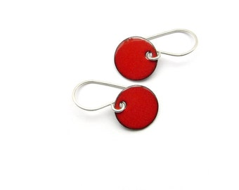 Small Red Dangle Earrings with Sterling Silver Earwires - Enamel Jewelry for Everyday Wear - Birthday Gift for her / Candies