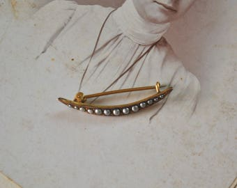 Antique Crescent Moon Seed Pearl Pin