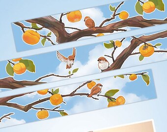 1 Roll of Limited Edition Washi Tape: Persimmon and Sparrow