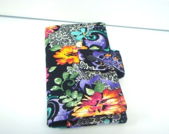 Fabric Checkbook Cover, Checkbook Holder - Summer Night Floral