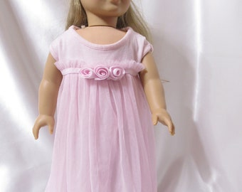 Sleeveless knit dress in pale pink for 18 inch dolls