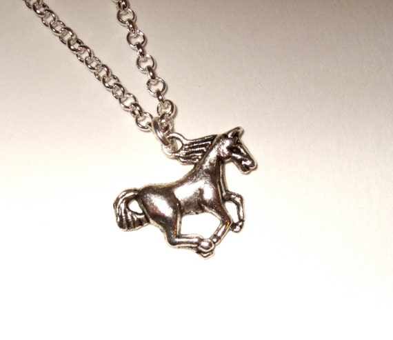 Horse Necklace, Wild Horse Charm, Galloping Horse, Silver Horse Charm, Horse Pendant, Simple Necklace, Everyday Jewelry, Stallion Necklace