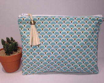 Pouch for makeup or toiletries in Japanese traditional pattern turquoise fan.