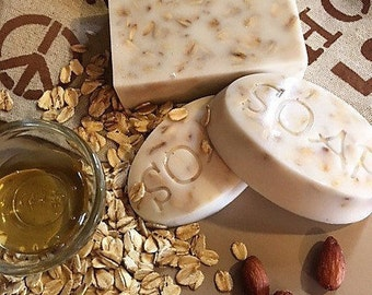 Oat and honey natural goats milk soap.