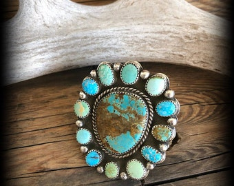 Handmade, Rustic,  .925, Sterling Silver, Mixed American Mined, Turquoise, Cluster, Statement Ring