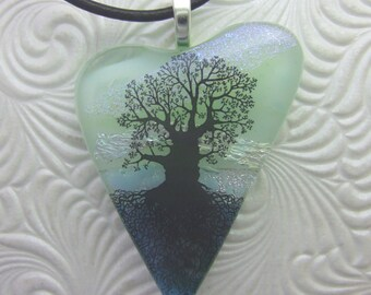 Blue Oak Tree of Life Heart Pendant, Fused Glass Jewelry Handmade in North Carolina