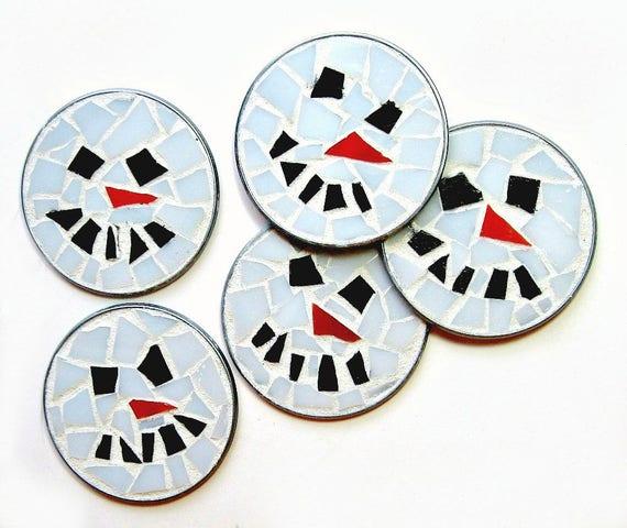 ONE Snowman Frosty Mosaic Magnet, Snowman Magnet, Mosaic Magnets, Holdiay Magnet, Winter Magnet, Snowman Magnets, Christmas Magnets