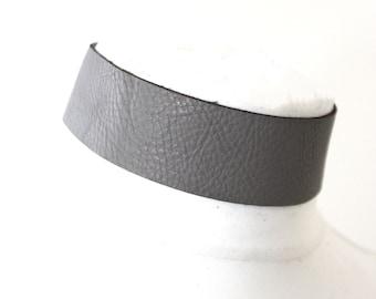Dark Grey Leather Choker | Grey Choker Neckl |  Leather Jewellery | Grey Leather Choker | bdsm wear