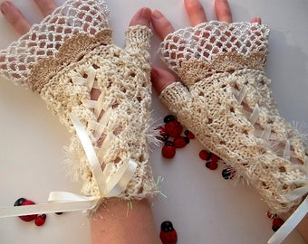 Crocheted Cotton Gloves L Ready To Ship Victorian Fingerless Summer Women Wedding Lace Evening Hand Knitted Party Opera Ivory Corset B61
