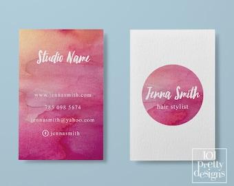 Watercolor business card template pastel printable business card design white pink business cards custom busienss card  makeup hair stylist