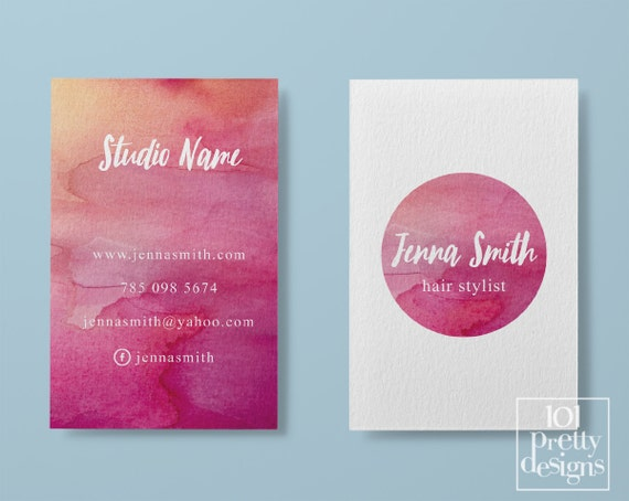 Watercolor business card template pastel printable business like this item wajeb Image collections