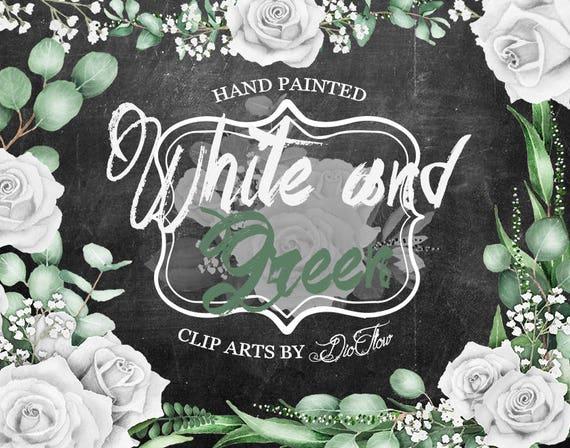 White Rose Clipart Green Eucalyptus Clip Art White Rose
