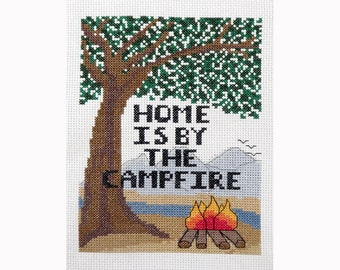 "PDF PATTERN - Camping Counted Cross Stitch -  ""Home is by the Campfire Saying"""