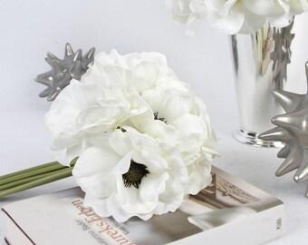 """Luxury Silk 9 Anemone Flower Bouquet in White 10"""" Tall"""