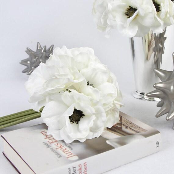 Luxury Silk 9 Anemone Flower Bouquet in White 10 Tall