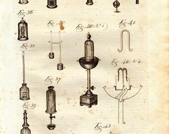 1798 Antique Science Print Pneumatics  Mechanical Motion Pressurized Gas