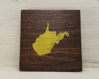 """Any Color, Any State, Custom State Wall Art, West Virginia, Mountaineers, 5""""x 5"""""""