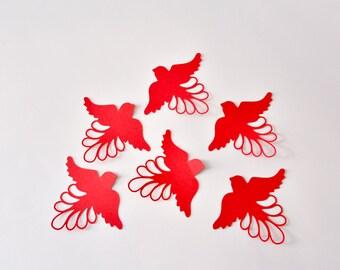 15 Bird Wall Decals, 3D Red Bird Wall Stickers for Room, Bird Wall Decor