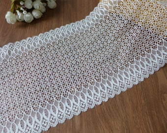 Hot New Soft Elastic Lace In Off White, Stretch Lace Fabric, Retro Floral Lace, By The Yard