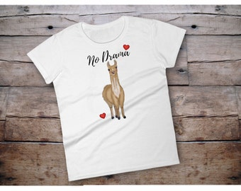 No drama shirt, no drama t shirt, no drama llama, llama shirt, women shirt with saying, women tshirt with saying, shirt with saying, t shirt