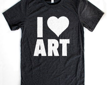 I Heart Art T-Shirt UNISEX/MENS  -  Available in S M L XL and four shirt colors