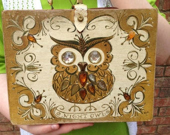 Vintage Enid Collins Night Owl Box Purse Wooden Hand Painted Jeweled Purse Retro Rockabilly