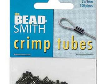 100 Black Oxide Gunmetal Plated Crimp Tubes 2mm x 2mm F436