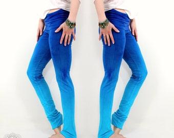 Blue Yoga Leggings, Ombre Yoga Leggings, Blue Leggings, Ombre Leggings, Yoga Clothing, Handmade Leggings - by OmBeautiful