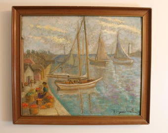 Hildegarde Hamilton American Oil Painting Canvas 1966 Impressionist Listed Framed Wall Art Vintage Mid Century Modern