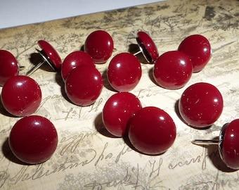 Handmade Decorative Thumb Tacks, Push Pins, Burgandy, Maroon, blood Red, Red, Office School Home Decor, Memory Cork Board