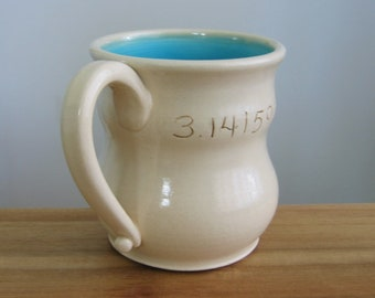 Funny Mug, Pi Coffee Cup, Math Teacher Gift, Graduation, Large Ceramic Pottery Mug in Turquoise Blue, 14 oz.