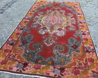 oushak Turkish rug, old vintage rug, turkish decorative rug, rug large vintage, 271