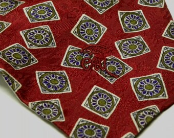 Vintage COUNTESS MARA Falling Squares Necktie Lord & Taylor New York Empire Floral Geometric Jacquard Silk Tie  Necktie RED Green Purple 084